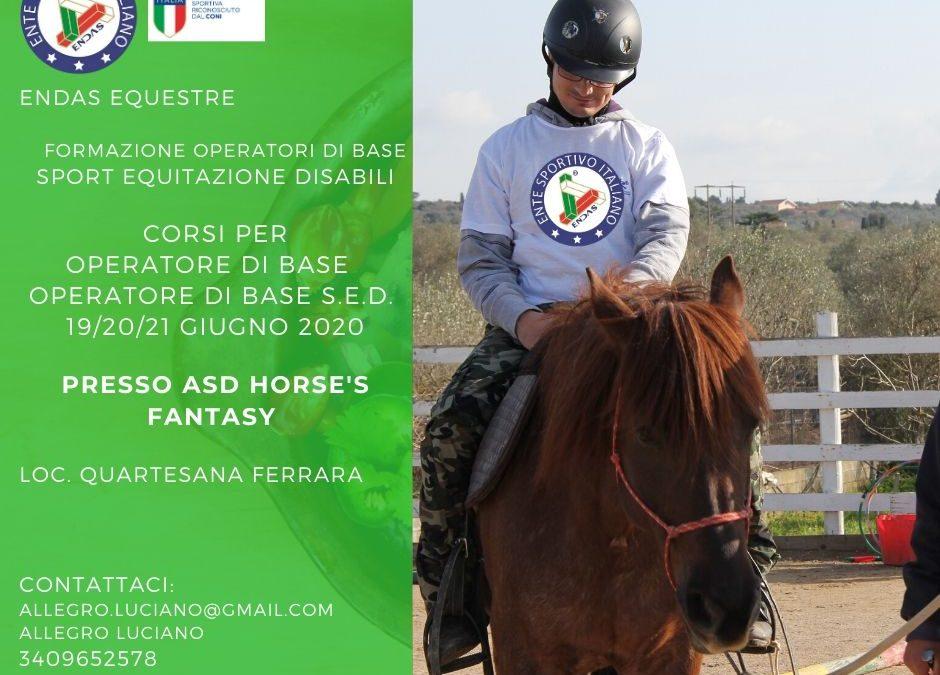 Formazione operatori di base Sport Equestri